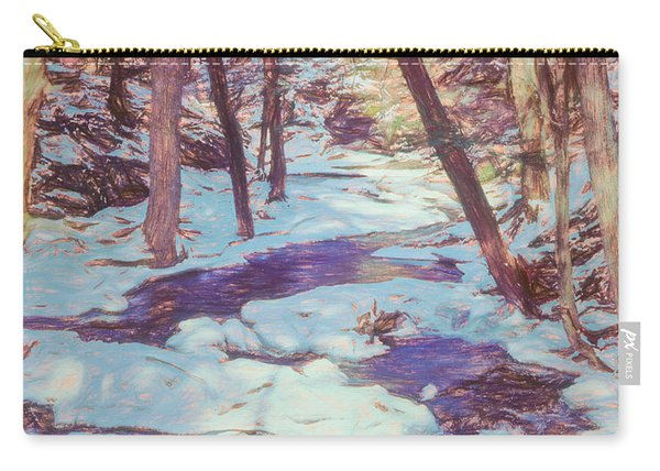 A Small Stream Meandering Through Winter Landscape. Carry-all Pouch
