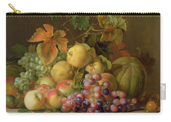 A Still Life Of Melons Grapes And Peaches On A Ledge Carry-all Pouch