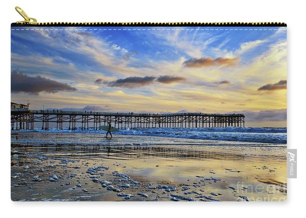 Carry-all Pouch featuring the photograph A Surfer Heads Home Under A Cloudy Sunset At Crystal Pier by Sam Antonio Photography