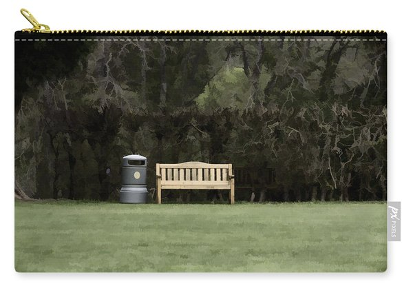 A Trash Can And Wooden Benches In A Small Grassy Area Carry-all Pouch