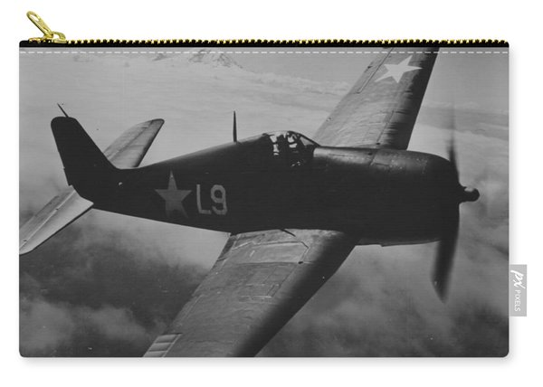 A Us Navy Hellcat Fighter Aircraft In Flight Carry-all Pouch