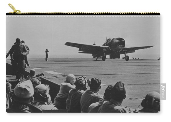 A Us Navy Hellcat Fighter Aircraft Landing On The Deck Of A Carrier Carry-all Pouch