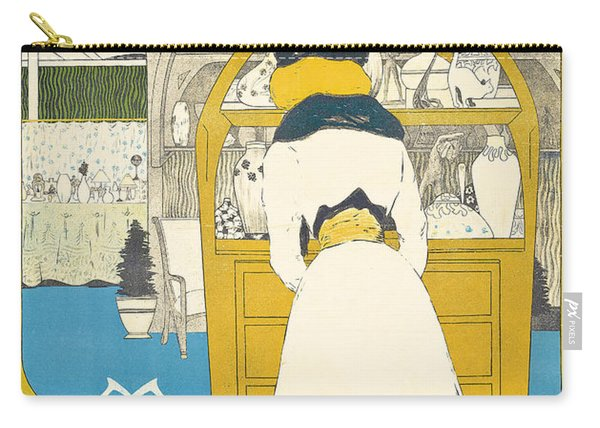A Vintage Poster Advertising The Parisian Art Gallery La Maison Moderne Carry-all Pouch