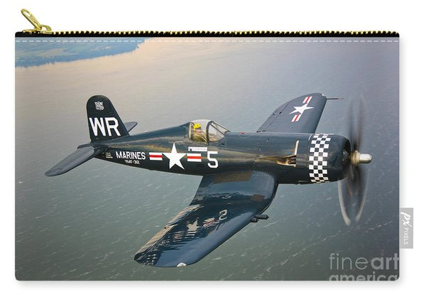 A Vought F4u-5 Corsair In Flight Carry-all Pouch
