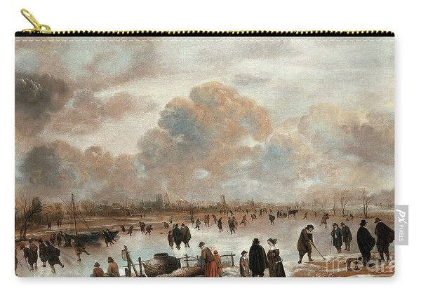 A Winter Landscape With Skaters And Townsfolk On A Frozen Waterway Carry-all Pouch