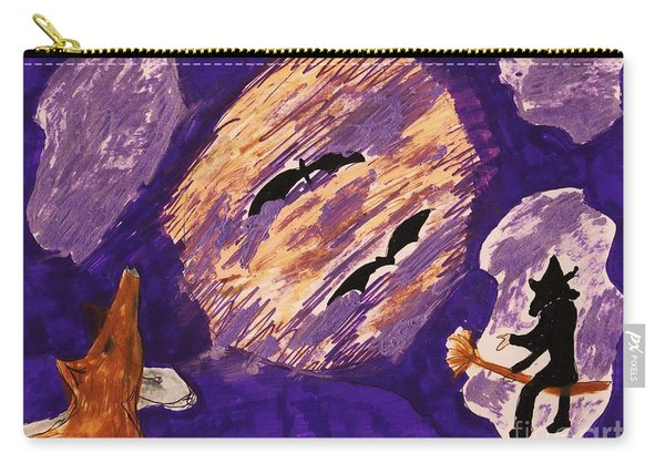 A Witch A Bat And A Howling Dog Carry-all Pouch
