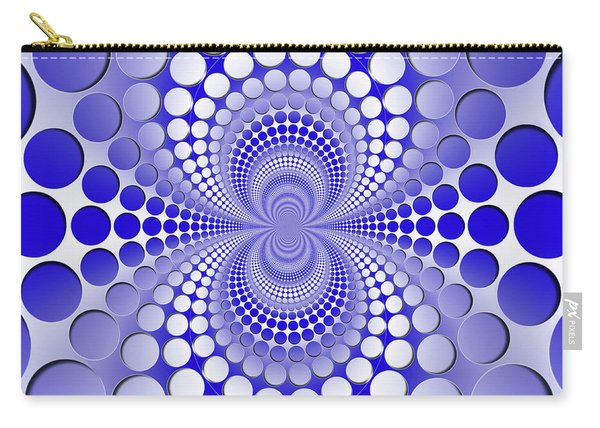 Abstract Blue And White Pattern Carry-all Pouch
