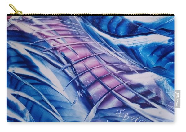 Abstract Blue With Pink Centre Carry-all Pouch