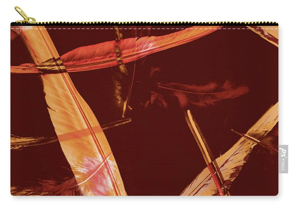 Abstract Feathers Falling On Brown Background Carry-all Pouch