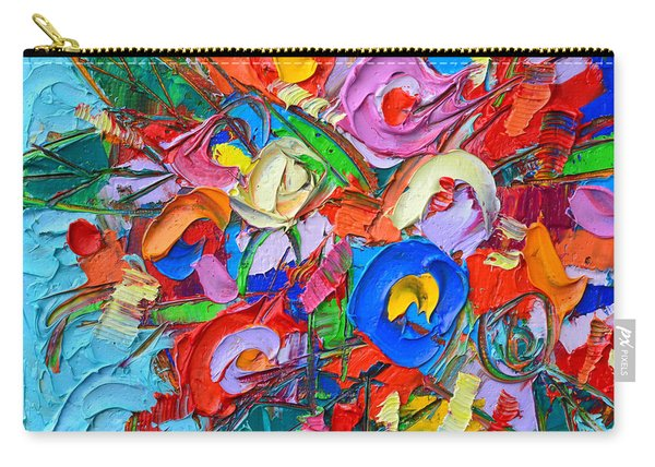 Abstract Flowers Floral Miniature Modern Impressionist Palette Knife Oil Painting Ana Maria Edulescu Carry-all Pouch