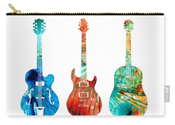 Abstract Guitars By Sharon Cummings Carry-all Pouch