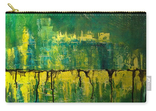 Abstract In Yellow And Green Carry-all Pouch