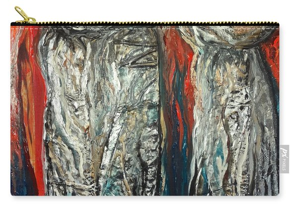 Abstract Red And Silver Latte Stones Carry-all Pouch