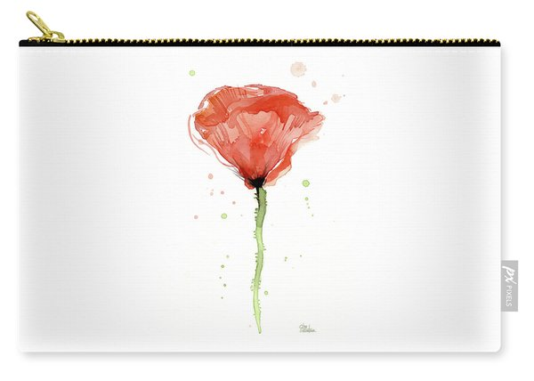 Abstract Red Poppy Watercolor Carry-all Pouch