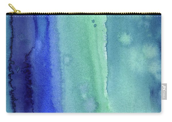 Abstract Vertical Watercolor Aqua Stripes Carry-all Pouch