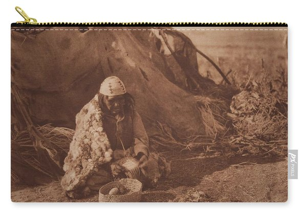 Achomawi Basket-maker Ca 1923 , Native American By Edward Sheriff Curtis, 1868 - 1952 Carry-all Pouch