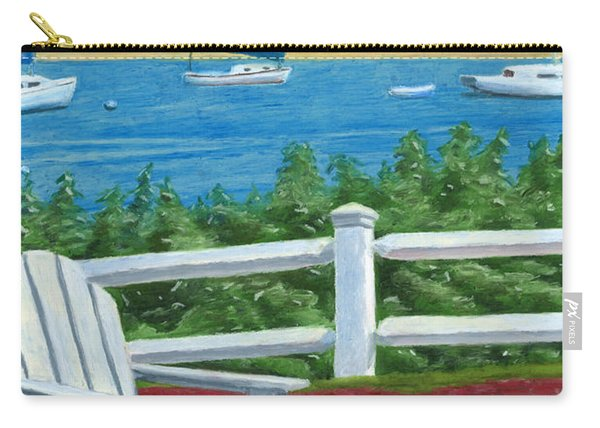 Carry-all Pouch featuring the drawing Adirondack Chair On Cape Cod by Dominic White
