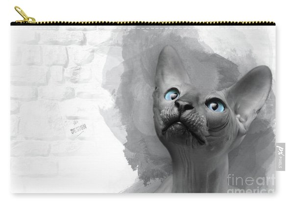 Adorable Gray Blue-eyed Sphynx Looking Up Carry-all Pouch