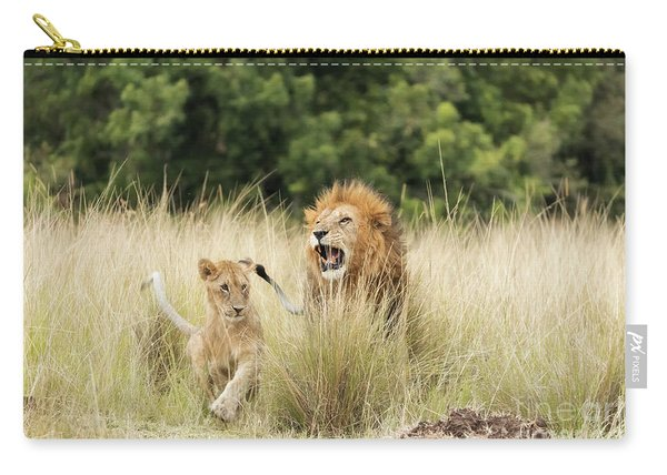 Adult Lion And Cub In The Masai Mara Carry-all Pouch