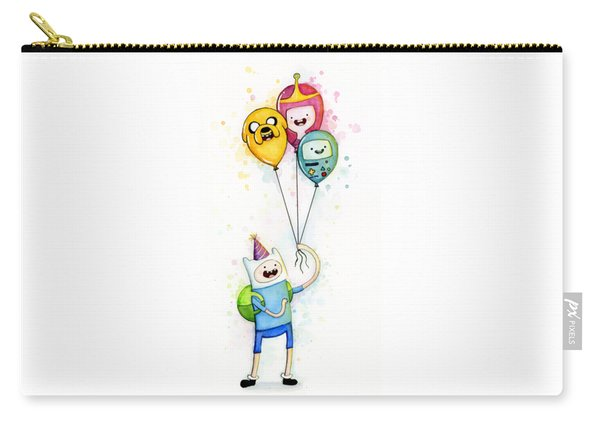 Adventure Time Finn With Birthday Balloons Jake Princess Bubblegum Bmo Carry-all Pouch