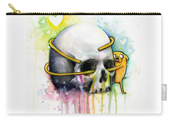 Adventure Time Jake Hugging Skull Watercolor Art Carry-all Pouch