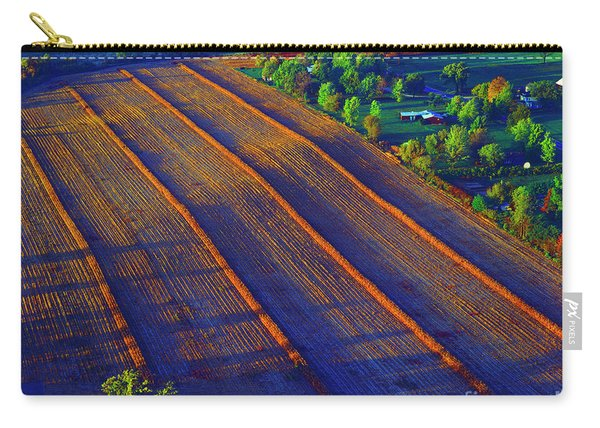 Aerial Farm Field Harvested At Sunset Carry-all Pouch