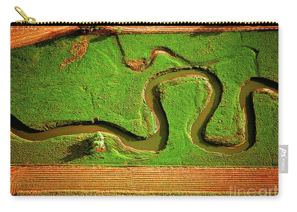 aerial, farm, stream, northern, Illinois, farms, meandering  Carry-all Pouch