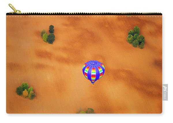 Aerial Of Hot Air Balloon Above Tilled Field Fall Carry-all Pouch