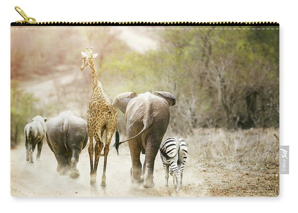 Africa Safari Animals Walking Down Path Carry-all Pouch
