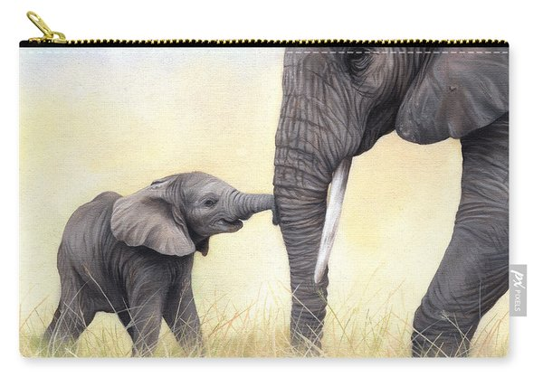 African Elephant And Baby Carry-all Pouch