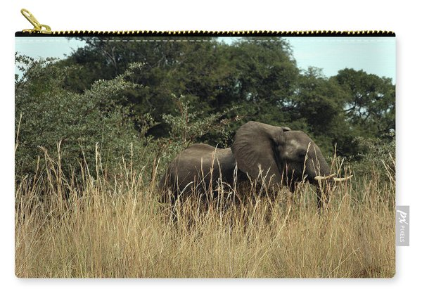 African Elephant In Tall Grass Carry-all Pouch
