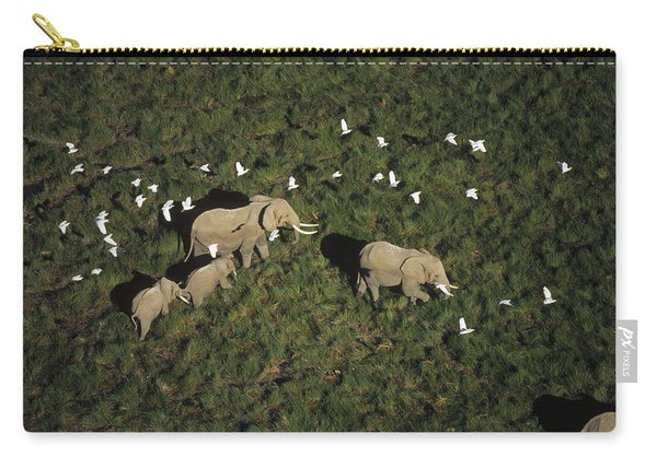 African Elephant Parents And Two Calves Carry-all Pouch