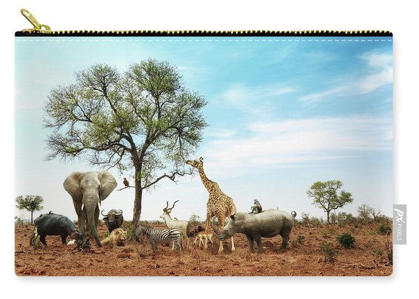 African Safari Animals Meeting Together Around Tree Carry-all Pouch