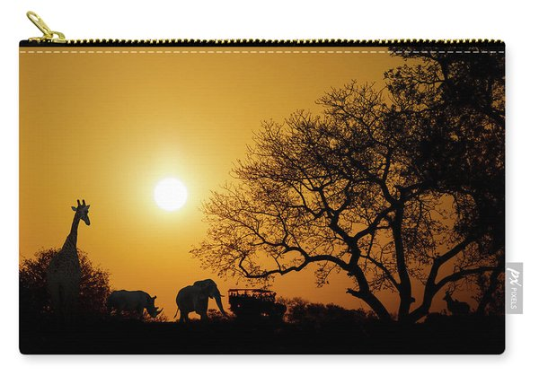 African Sunset Silhouette With Copy Space Carry-all Pouch