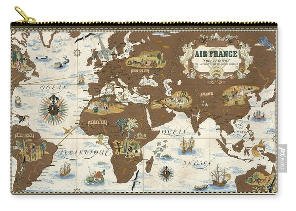 Air France - Historical Illustrated Map Of The World - Lucien Boucher - Cartography Carry-all Pouch