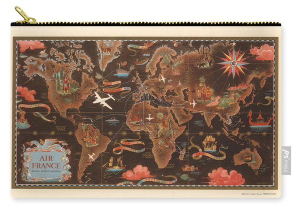 Air France - Vintage Illustrated Map Of The World - Lucien Boucher - Cartography Carry-all Pouch