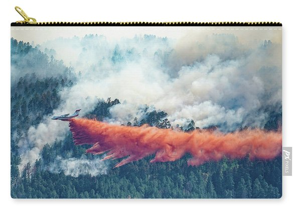 Carry-all Pouch featuring the photograph Air Tanker On Crow Peak Fire by Bill Gabbert