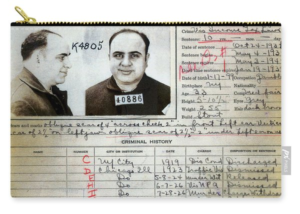 Al Capone Mugshot And Criminal History Carry-all Pouch