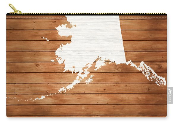 Alaska Rustic Map On Wood Carry-all Pouch