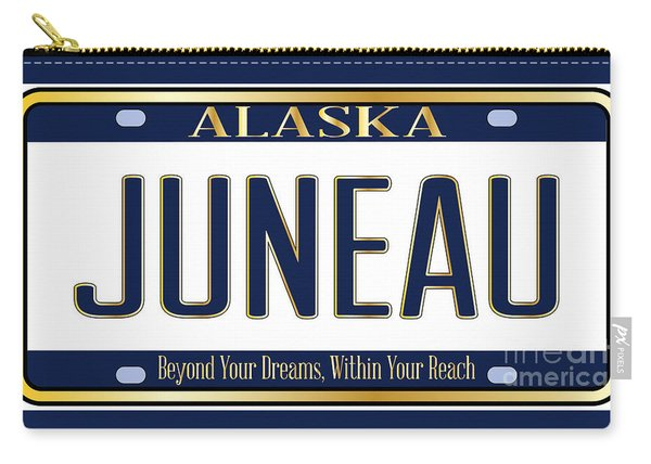 Alaska State License Plate Mockup With The Capital City Juneau Carry-all Pouch