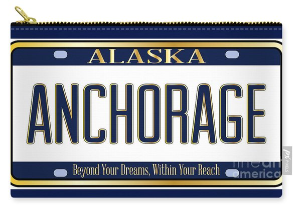 Alaska State License Plate Mockup With The City Anchorage Carry-all Pouch