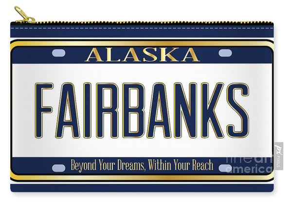 Alaska State License Plate Mockup With The City Fairbanks Carry-all Pouch