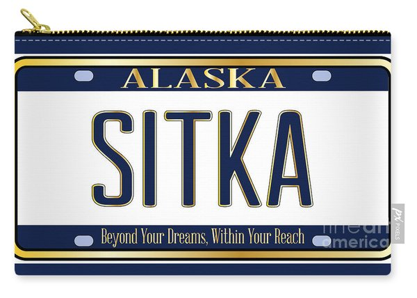 Alaska State License Plate Mockup With The City Sitka Carry-all Pouch