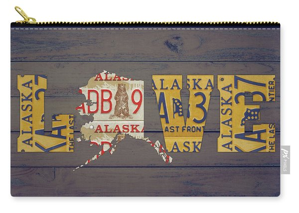 Alaska State Love License Plate Art Phrase Carry-all Pouch