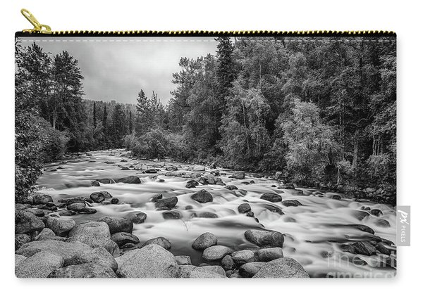 Alaskan Stream In Black And White Carry-all Pouch