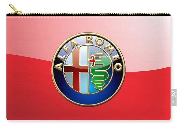 Alfa Romeo - 3d Badge On Red Carry-all Pouch