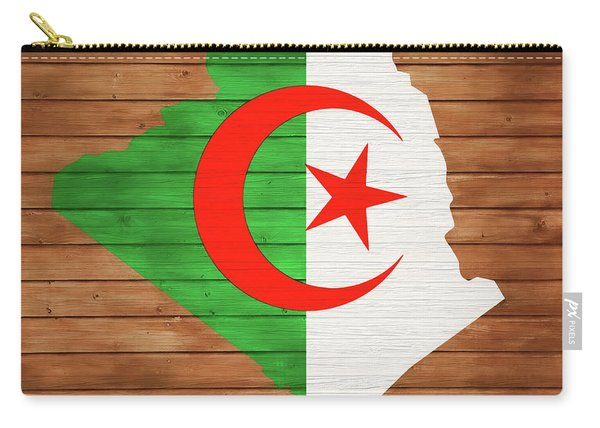 Algeria Rustic Map On Wood Carry-all Pouch