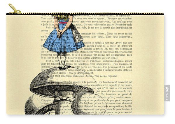 Alice In Wonderland Standing On Giant Mushroom Carry-all Pouch