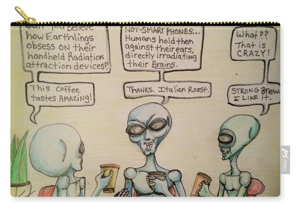 Alien Friends Coffee Talk About Cellular Carry-all Pouch