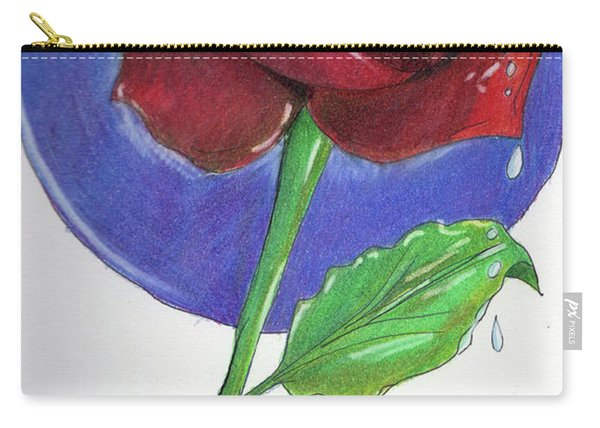 Carry-all Pouch featuring the drawing Almost Black Rose by Loretta Nash